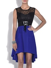 Black And Royal Blue Hi-Lo Dress With Belt - By