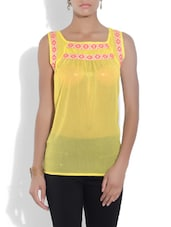 Yellow Chiffon Embroidered Top - By