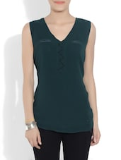 Solid Green Polyegeorgette Top - By
