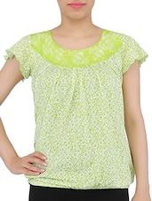 Green And White Cotton Printed Top - By
