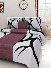 Black And Brown Cotton Printed Double Bed Quilt - By