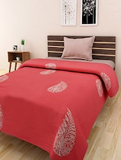 Orange Cotton Embroidered Double Bed Quilt - By