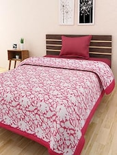 Red And White Cotton Printed Single Bed Quilt - By