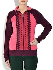 Pink Front Open Full Sleeve Mix N Match Fleece Sweatshirt - By