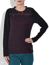 Red Round Neck Full Sleeve Mix N Match Fancy Knitted Fabric Pre Winter Top - By