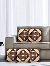Brown Poly Cotton Cushion Covers (Set Of 5) - By - 9570704