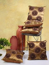 Brown Poly Cotton Cushion Covers (Set Of 5) - By