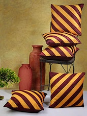 Wine And Mustard Striped Poly Cotton Cushion Covers (Set Of 5) - By