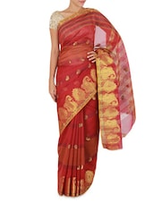 Red Paisley Patterned Cotton Silk Saree - By