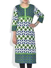White Floral And Leaf Printed Cotton Kurta - By