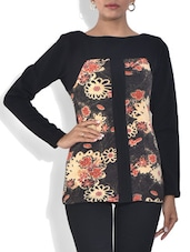 Black Floral Printed Viscose Top - By