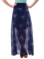 Navy Blue Georgette Printed Maxi Skirt - By