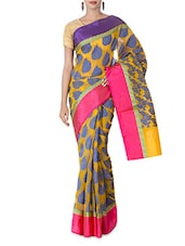 Yellow Leaf Booti Art Silk And Zari Saree - By