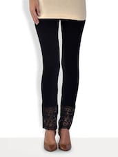 Solid Black Cotton Lycra Leggings With Lace Trim - By
