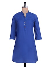 Solid Royal Blue Cotton Kurti - By