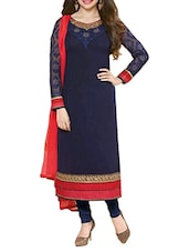 Embroidered Navy Blue Georgette Dress Material - By