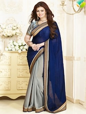 Navy Blue And Grey Brasso Georgette Saree - By