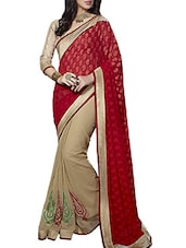 Multi-Color Embroidered Casual Wear Georgette Saree With Blouse Piece - By