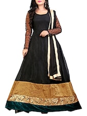 Black Faux Georgette Anarkali Suit Set - By