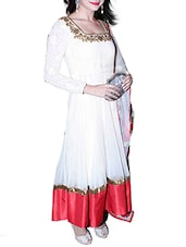 White Embroidered Faux Georgette Anarkali Suit Set - By