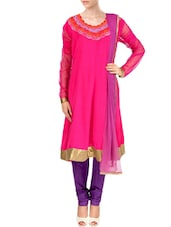 Pink Net Hand Embroidered  Anarkali  Suit Set - By