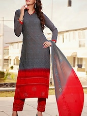 Grey Cotton Embroidered Salwar Suit Set - By
