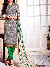 Grey Crepe Printed Semi Stitched Suit Set - By