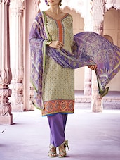 Cream Embroidered And Printed Cotton Unstitched Suit Set - By