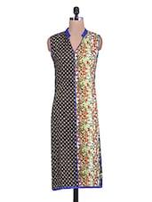 Multicolored Printed Sleeveless Rayon Kurti - By