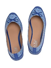 Blue Printed Faux Leather Ballerinas With Bow - By