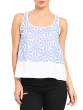 White Printed Sleeveless Cotton Top - By