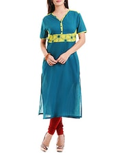 Teal Blue Printed Cotton Cambric Kurta - By
