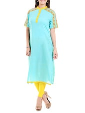 Turquoise Embroidered Cotton Cambric Kurta - By