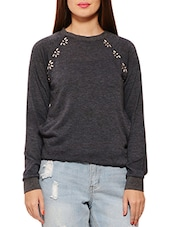 Charcoal Grey Embellished Viscose Sweatshirt - By