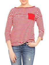 Red And White Striped Cotton Spandex Top - By