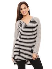 Grey Cotton  Striped Jersey Top - By