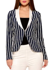 Navy Blue And White Striped Polyester Jacket - By