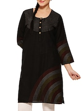 Black Cotton Matka Kurta With Embroidery Detail - By