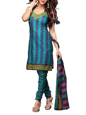 Blue Cotton Printed Semi Stitched Suit Set - By