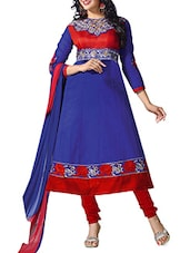 Blue Cambric Cotton Embroidered Semi Stitched Suit Set - By