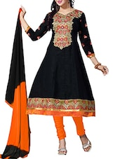 Black Cambric Cotton Embroidered Semi Stitched Suit Set - By