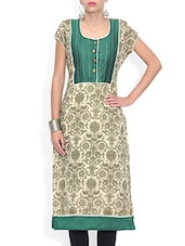 Silk Blend Printed Short Sleeves Kurta - By