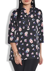 Black Polycrepe Printed Top - By