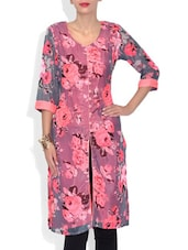 Dusky And Neon Pink Floral Printed Polyester Kurta - By