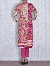 Dark Pink Printed Cotton Unstitched Suit Set - By