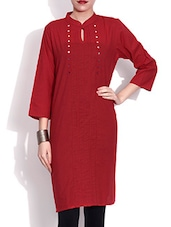 Red Cotton Kurta With Mirror Work - By