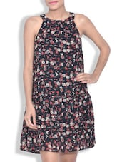 Multicolored Georgette Floral Printed Sleeveless Dress - By