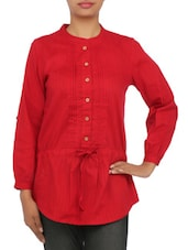 Solid Red Cotton Tunic - By
