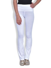 Solid White Cotton Spandex Track Pants - By