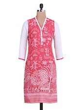 Red And White Printed Cotton Kurta - By